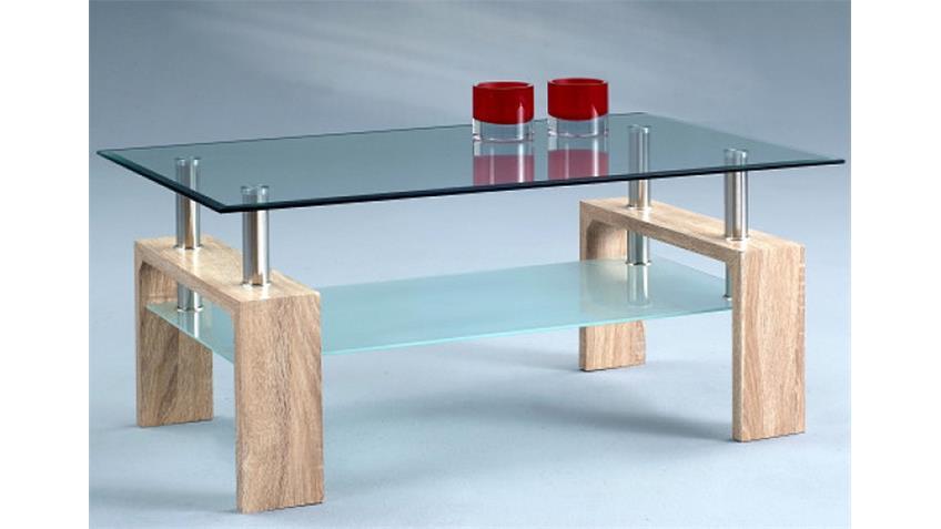 Couchtisch INTRO 5 Tisch Sonoma Eiche mit Glas und Ablage