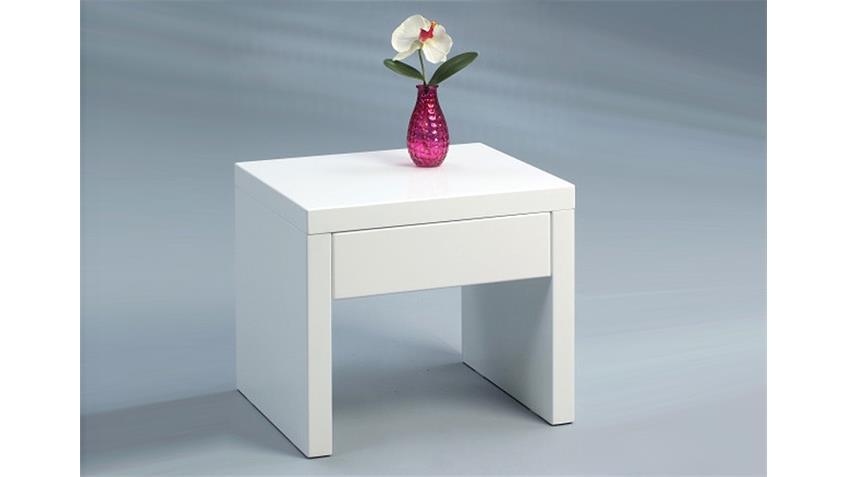 Beistelltisch BIANCA Anstelltisch Nachttisch weiß hochglanz