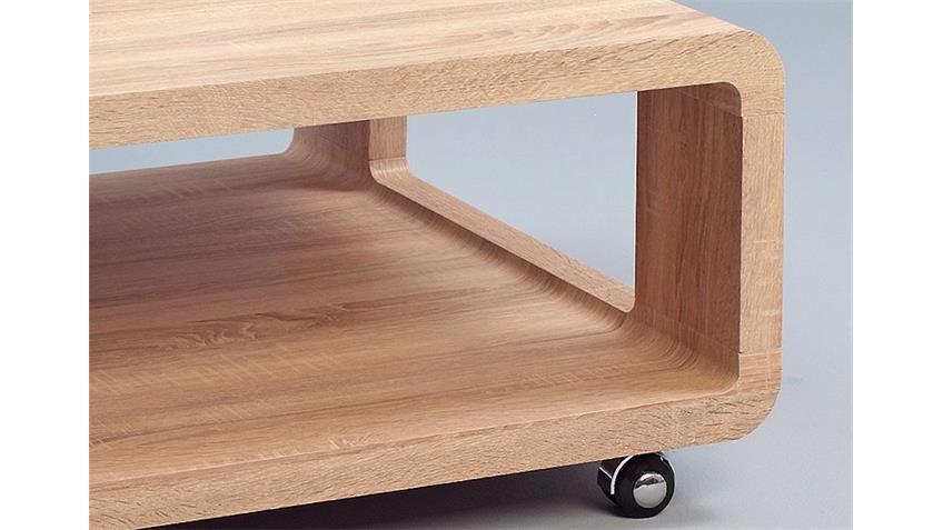 couchtisch sascha sonoma eiche auf rollen 80x80 cm. Black Bedroom Furniture Sets. Home Design Ideas