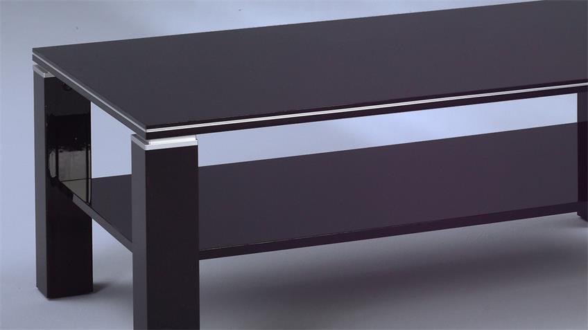 Couchtisch JURI schwarz Hochglanz mit Aluminiumstreifen