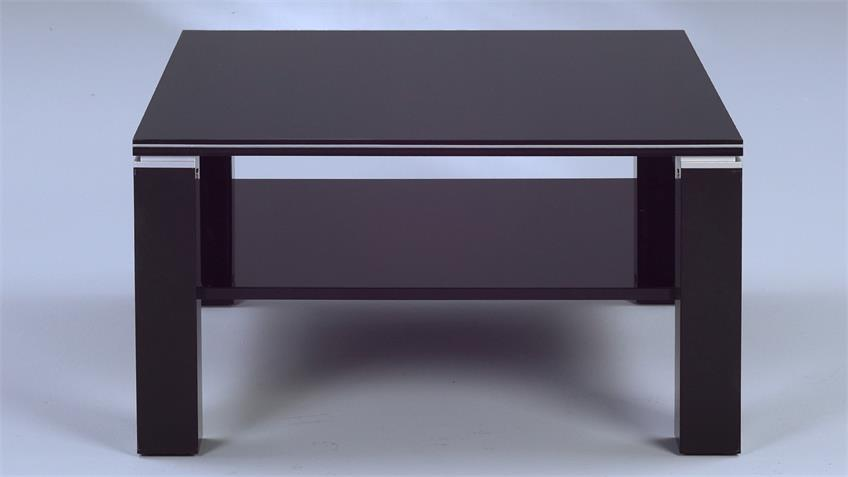 Couchtisch JURI schwarz Hochglanz mit Aluminiumstreifen 78cm