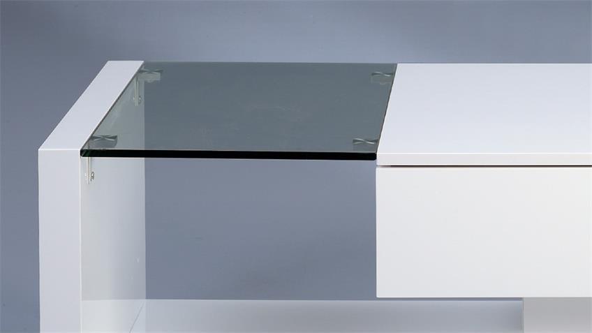 Couchtisch ILONA weiß hochglanz mit Glasplatte & Schukasten