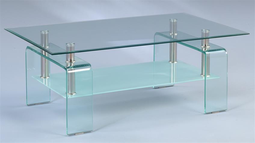 Couchtisch CARUSO Glastisch klar & verchromt 100x60 cm