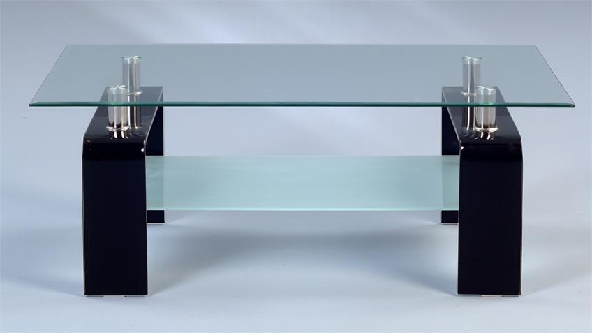 Couchtisch CARUSO Glastisch klar & schwarz 100x60 cm