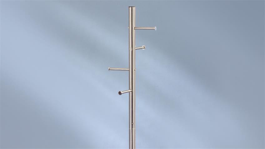Kleiderständer KLEO aus Metall Edelstahloptik 172 cm hoch