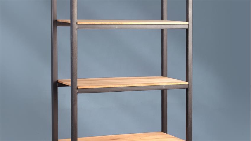 Regal GLENN 3 Metall mit 5 massiven Wildeiche Böden 188 cm