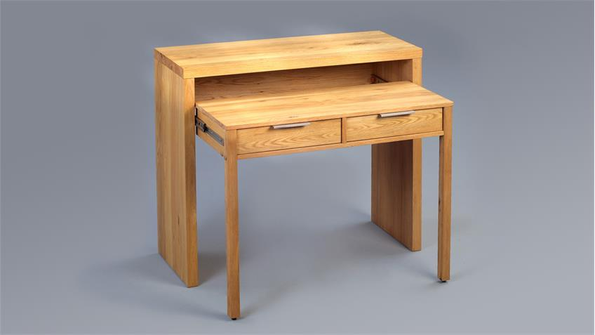 Schreibtisch SVEN Wildeiche furniert 98x38 cm ausziehbar