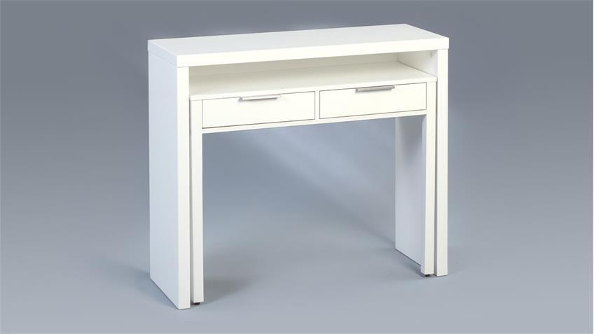 Schreibtisch ARIA MDF weiß hochglanz 98x38 cm ausziehbar