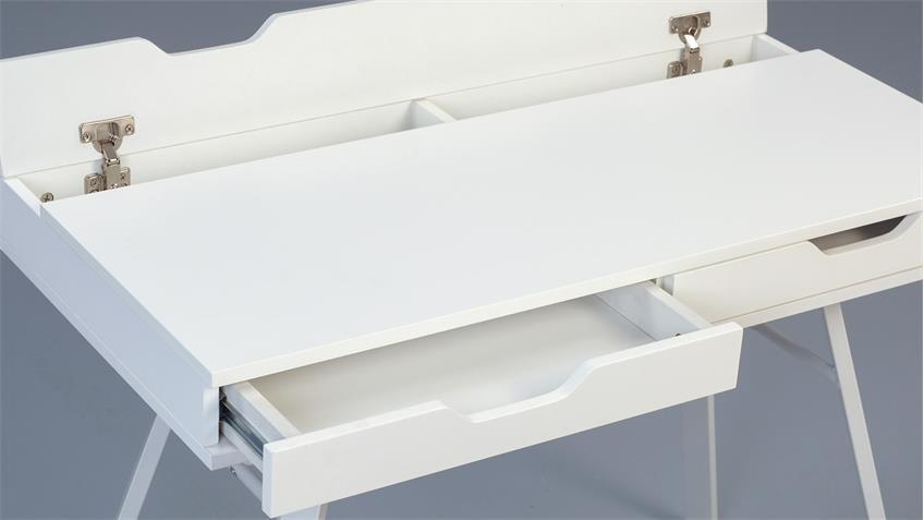 Schreibtisch DIAN MDF weiß matt lackiert mit Kabelfach