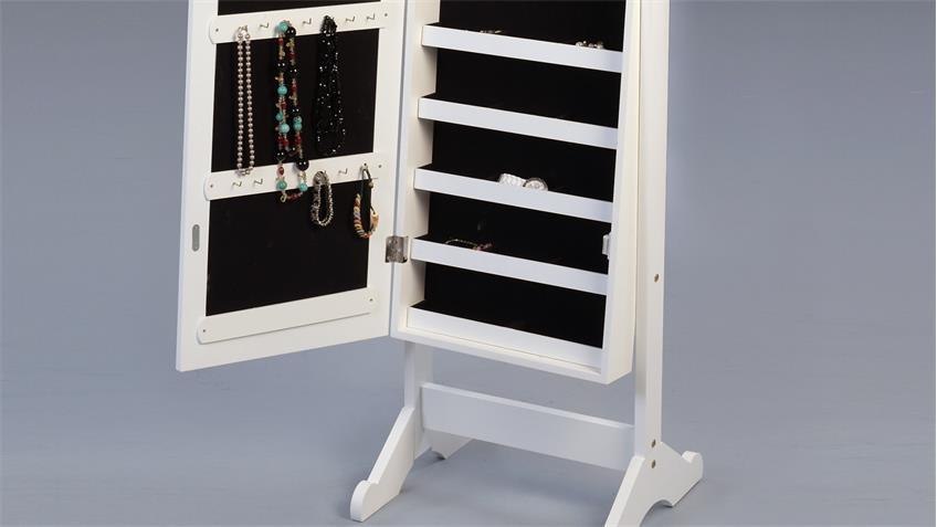 Schmuckschrank JUDY Standspiegel matt weiß lackiert 41x147