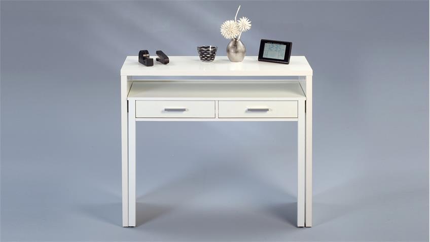 Konsole MODEA weiß Glanz ausziehbar zum Schreibtisch 98x36