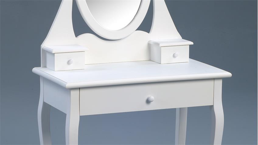 Schminktisch MAGIA matt weiß lackierte Konsole mit Spiegel