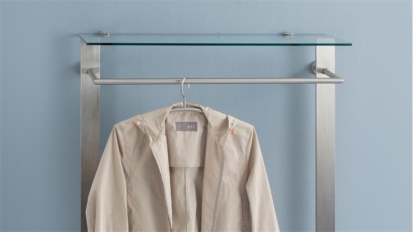 Garderobe SABANA in Edelstahloptik mit Schuhablage und Glas