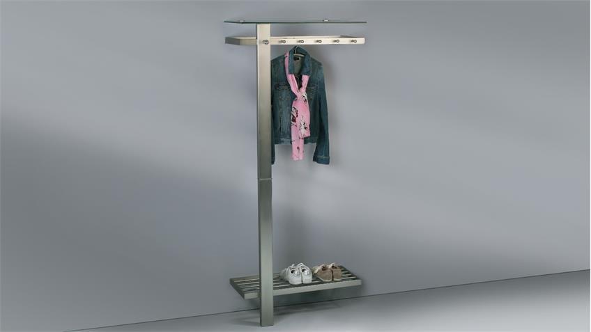 Garderobe VITO in Edelstahloptik mit Schuhablage Hakenleiste