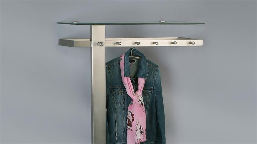 Garderobe VITOS Edelstahloptik mit Schuhablage Hakenleiste
