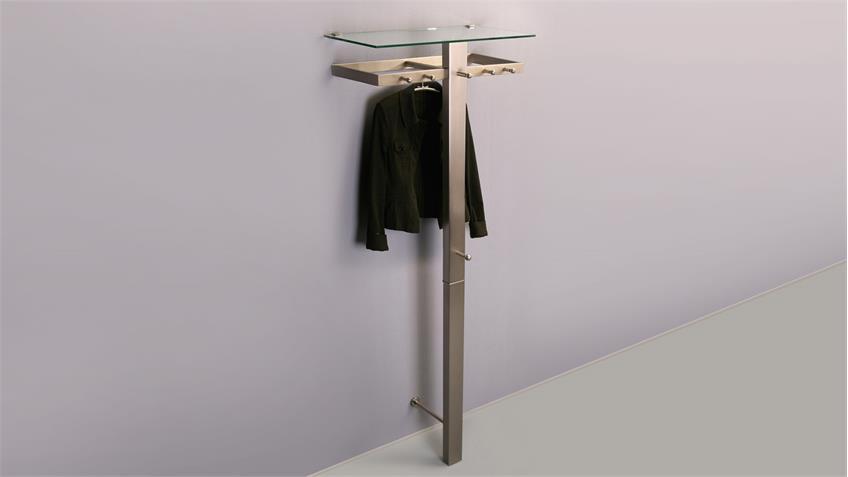 Garderobe SPECTRA in Edelstahloptik mit Haken und Hutablage