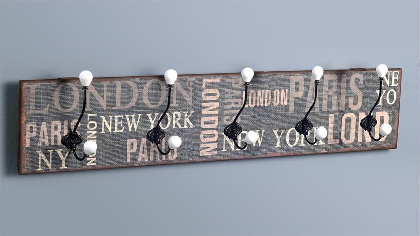 Garderobe petri 3 in vintage optik mit 5 haken 100x20 cm for Garderobenleiste 100 cm