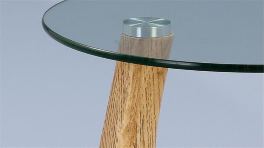 Beistelltisch ARENA Magnesia Holzoptik Sicherheitsglas klar UV-verklebt