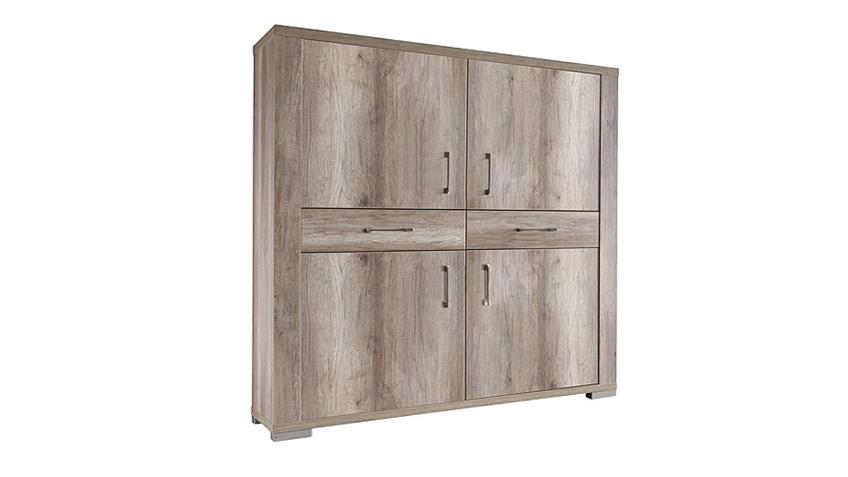 Highboard MATTI Sideboard Schrank in Wildeiche Trüffel Dekor