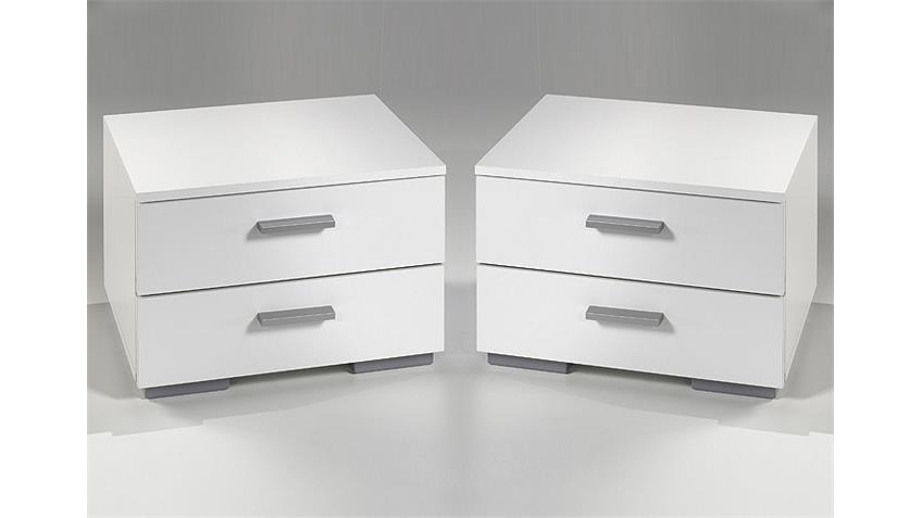 Nachtkommode TWO Nachtkonsole Nachttisch in weiß 2er Set