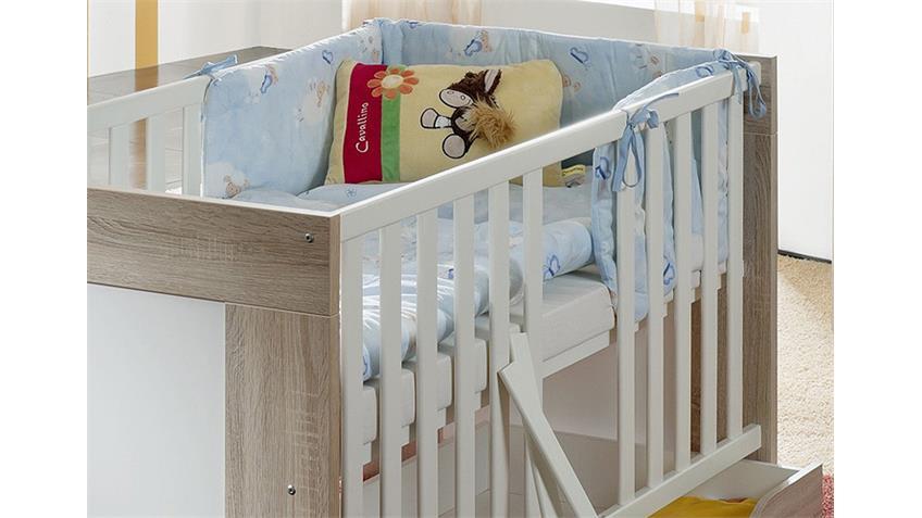 Babybett BEN Sonoma Eiche sägerau und weiß matt