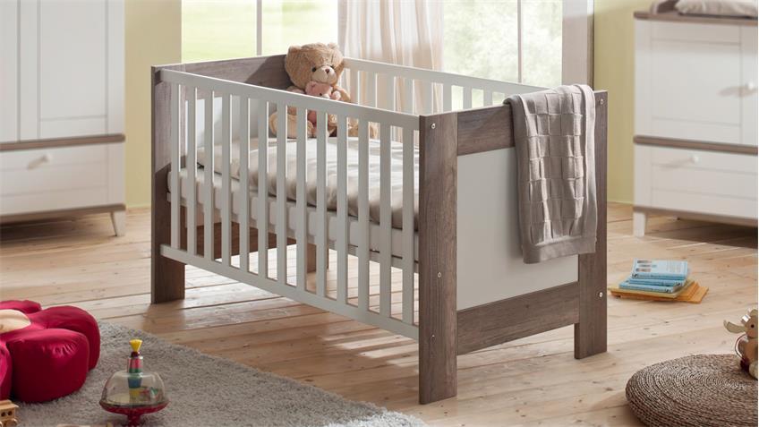 Babyzimmer BELLA Wildeiche Trüffel und Weiß matt