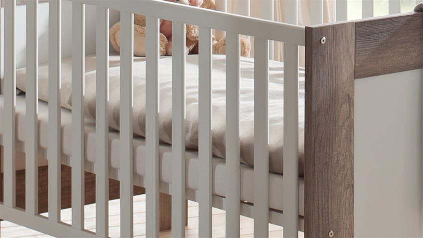 Babybett BELLA Wildeiche Trüffel und Weiß matt