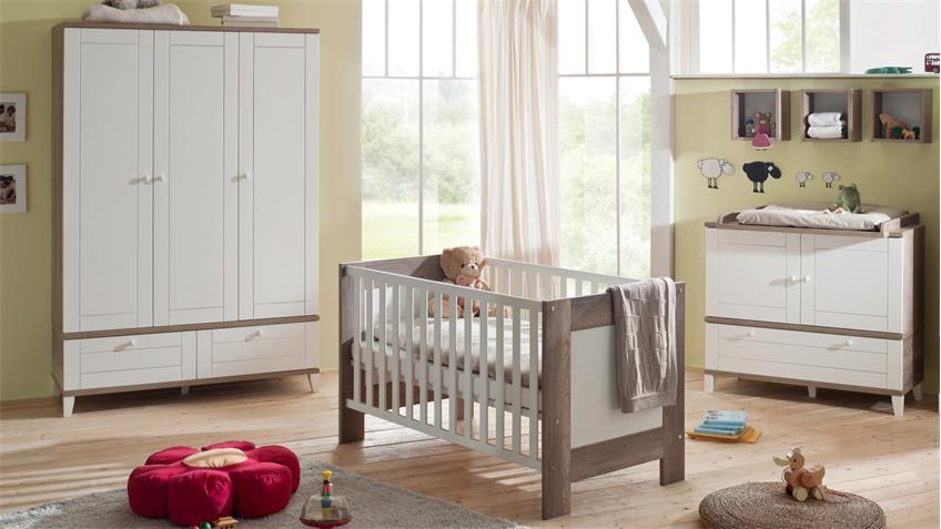 Babyzimmer BELLA Babymöbel Set Wildeiche Trüffel und weiß