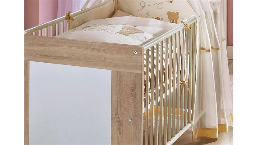 Babybett MICHI Sonoma Eiche sägerau und Weiß matt