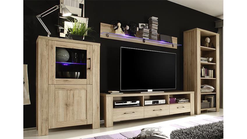 wohnwand lupo anbauwand in san remo eiche dekor vierteilig. Black Bedroom Furniture Sets. Home Design Ideas