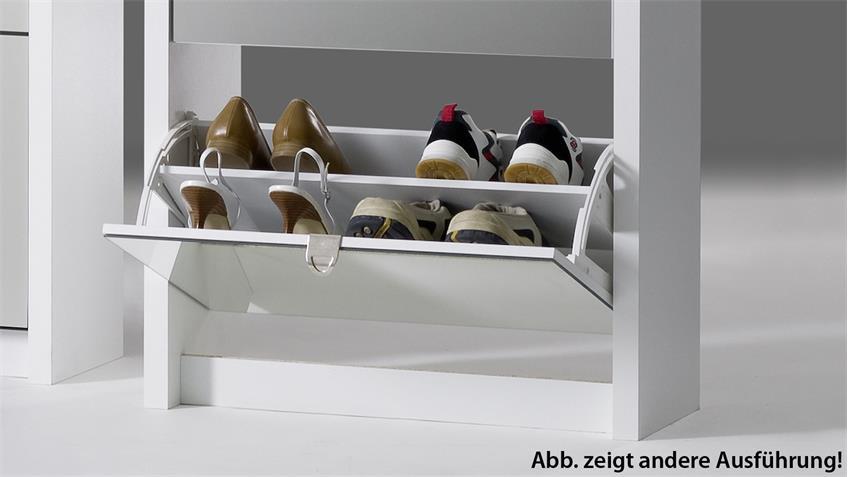 Schuhkipper BIG Eiche sägerau und weiß matt mit 4 Klappen für 24 Paar