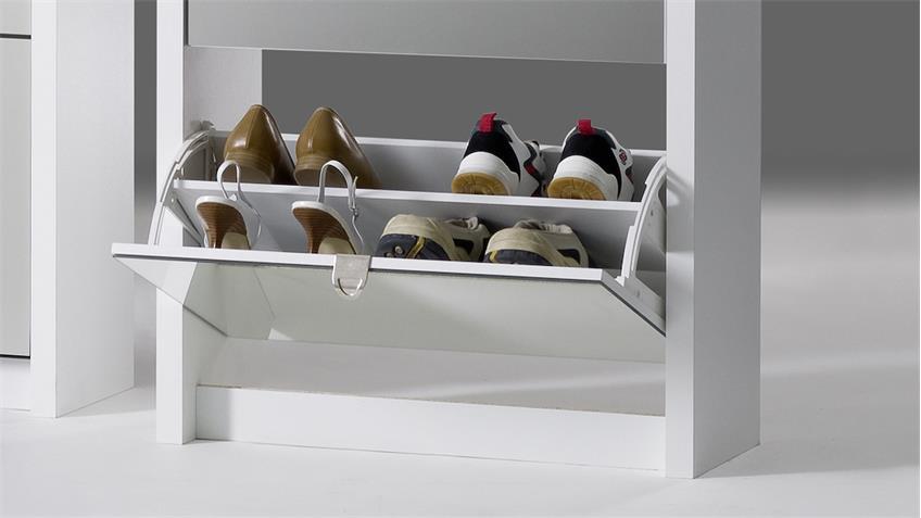 Schuhkipper BIG in weiß matt Front Spiegel mit 4 Klappen für 24 Paar