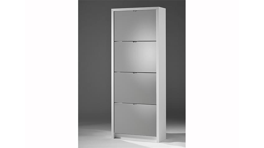 Schuhkipper BIG Schuhschrank in weiß matt mit Spiegel