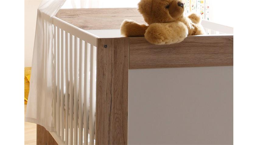 Babybett TWIN Kinderbett in San Remo Eiche und weiß