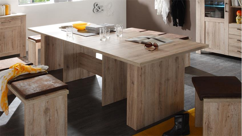 Esstisch BRASIL in Sanremo hell Tisch ausziehbar 140-300 cm