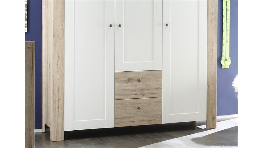 Kleiderschrank LUPO Schrank San Remo hell und weiß matt