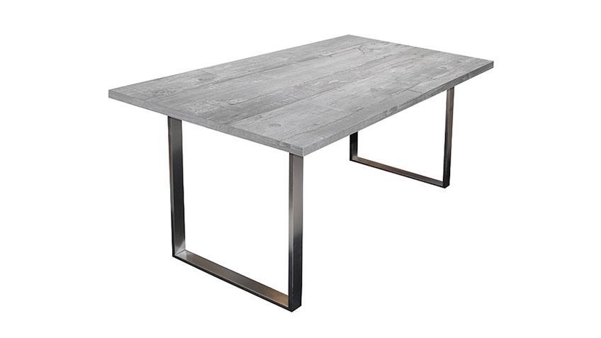 Esstisch STEEL Tisch in Betongrau mit Stahlfuß 200x100 cm