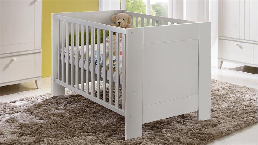 Babybett BELLA Gitterbett 140x70 cm in weiß matt mit Schlupfsprossen