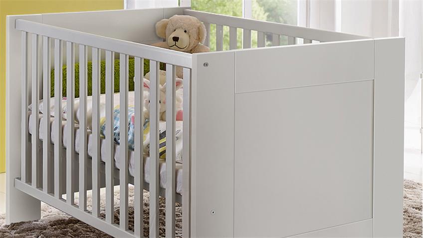 Babybett BELLA Weiß matt inkl. Schlupfsprossen 140x70 cm