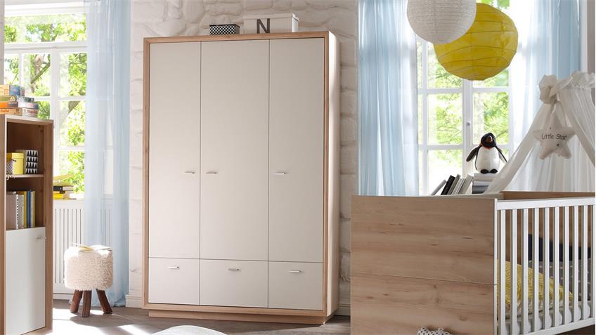 Kleiderschrank SVEN Edelbuche weiß lackiert 3-trg. B 131 cm