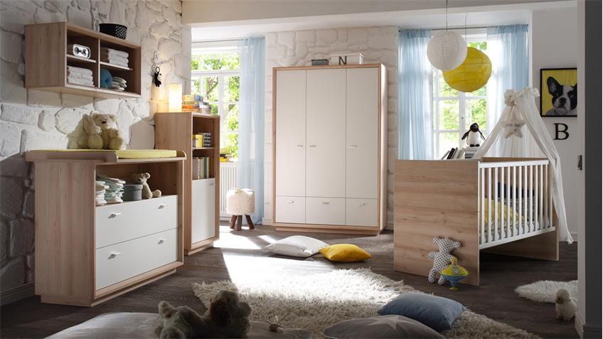 Babyzimmer SVEN 5-tlg. in Edelbuche Front weiß lackiert