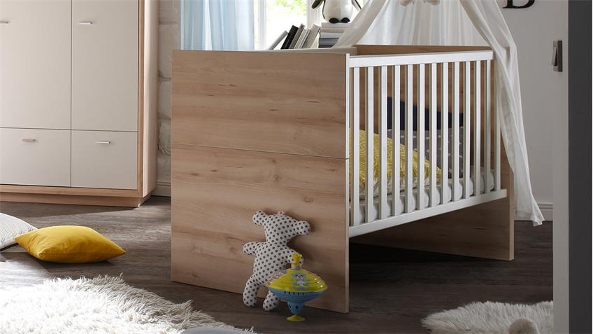 Babyzimmer SVEN 3-tlg. in Edelbuche Front weiß lackiert