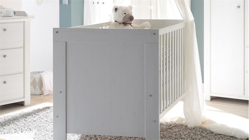 Babybett DANDY Anderson Pine weiß mit breiten Sprossen