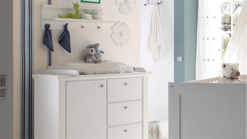 Babyzimmer DANDY 5-teilig Anderson Pine weiß Kinderzimmer