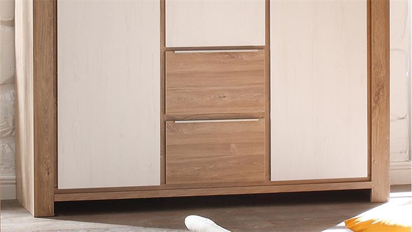 Kleiderschrank GRANNY Stirling Oak Dekor Anderson Pine 3-trg