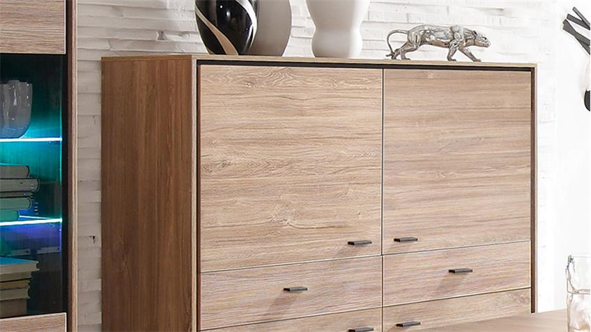 Highboard SALINAS Schrank in Stirling Eiche schwarz 4-türig