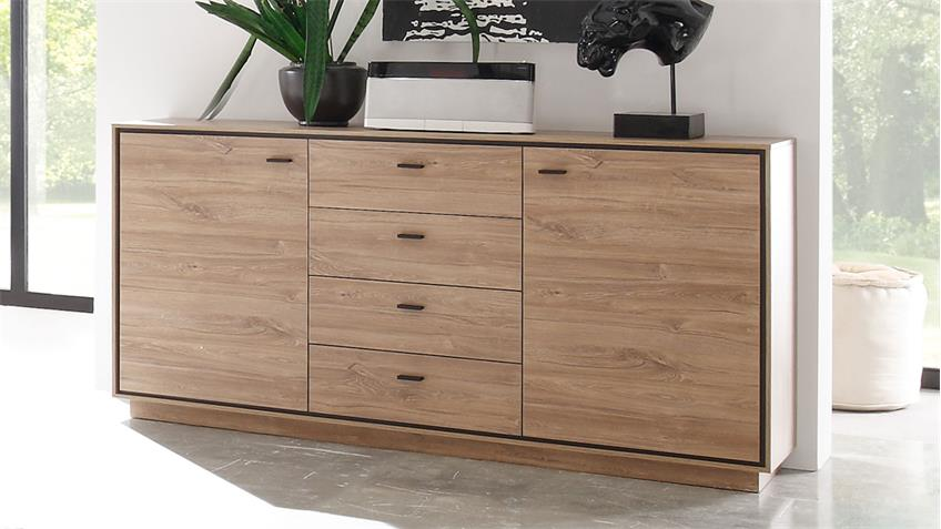 Sideboard SALINAS Kommode in Stirling Eiche schwarz 179 cm