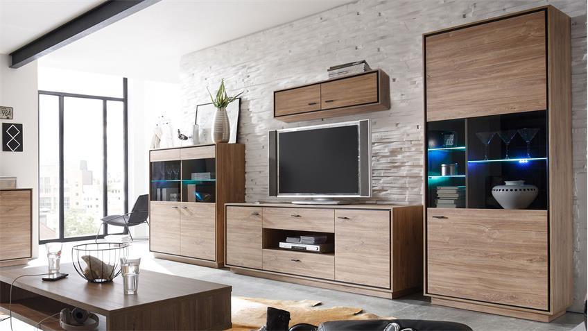 TV-Lowboard SALINAS Kommode Stirling Eiche schwarz 179 cm