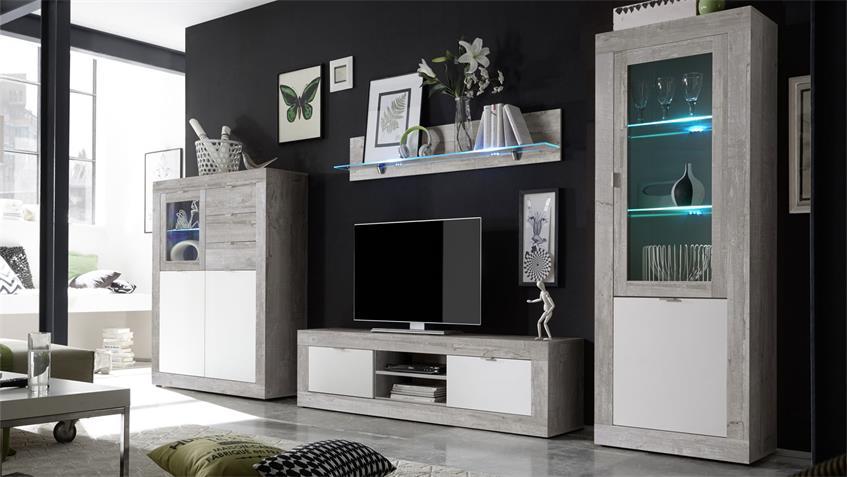 Lowboard JUMP TV Kommode Beton Dekor & weiß Lack 162 cm