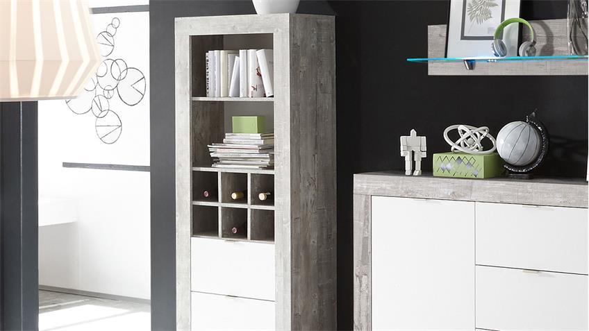 Wohnwand 2 JUMP Esszimmer Set Beton & weiß lackiert 4-tlg